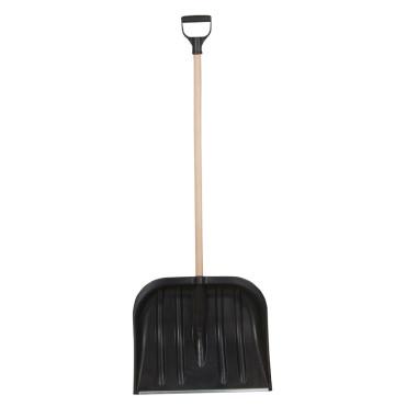 Lopata zapada plastic rotunjit cu maner lemn 485x395mm