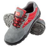 pantof piele-intoarsa-tesut / gri-rosu (s1psrc)