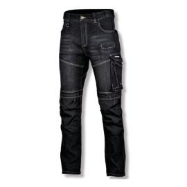 pantalon lucru tip-blugi slim-fit elastic inchisi - s